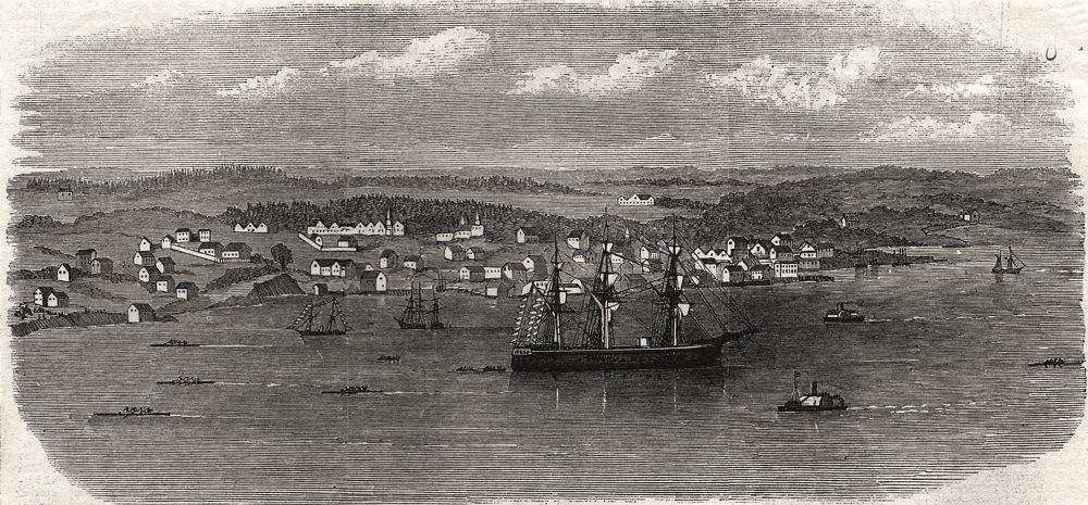 Associate Product The boat returning to Halifax, past Dartmouth. Nova Scotia, antique print, 1871