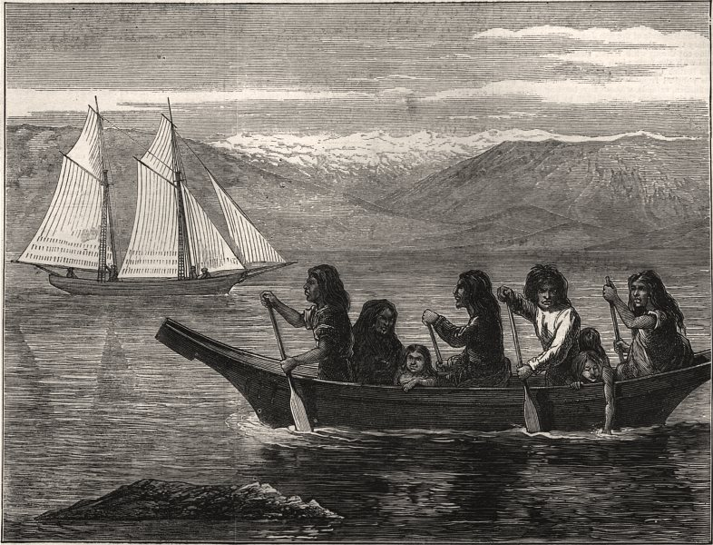 Associate Product Native canoe, on the coast of British Columbia. Canada, antique print, 1872