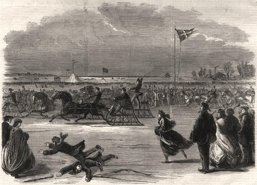 Associate Product Royal wedding celebration on the Burlington Bay ice, Lake Ontario, Canada, 1863