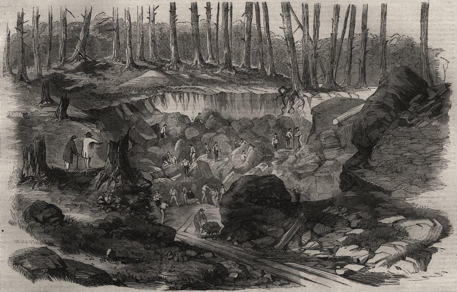 Associate Product Copper mine or quarry, near Montreal, Canada. Quebec, antique print, 1860