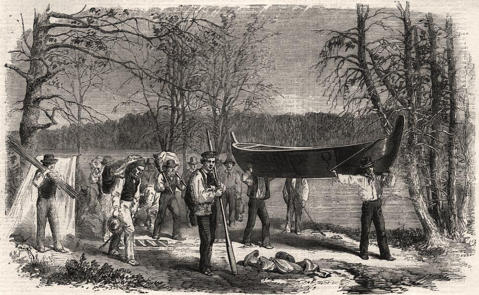 Associate Product Assiniboine & Saskatchewan exploring expedition. Portaging canoe & baggage, 1858