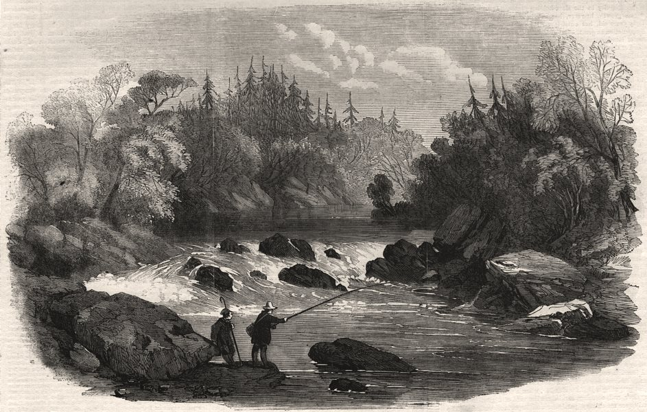 Associate Product Sporting scenes in Canada. Escoumains River: a salmon pool. Canada, print, 1858