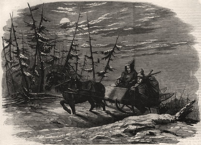 Associate Product Moose hunting in Canada. En route for the hunting ground. Canada, print, 1858