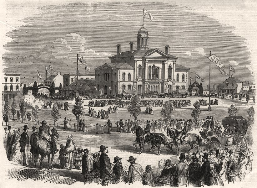 Associate Product Buffalo & Lake Huron railway: opening ceremonies at Goderich, Canada West, 1858
