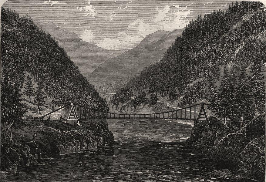 Associate Product Wire suspension bridge over the Fraser River, British Columbia. Canada, 1866