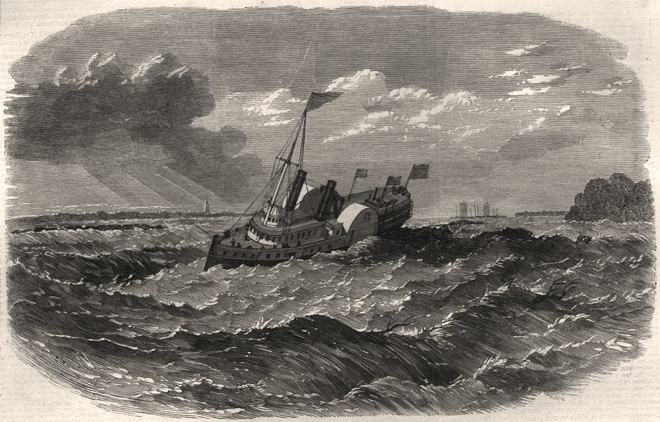 Associate Product Canadian Steamer running Lachine Rapid of the St. Lawrence. Canada, print, 1863