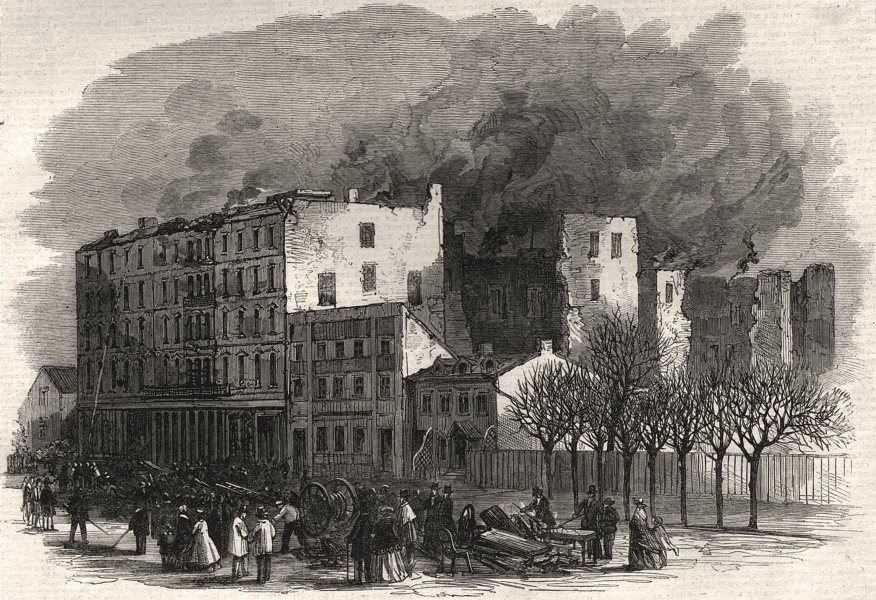 Associate Product Rossin House, Toronto, the morning after the fire. Ontario, antique print, 1863