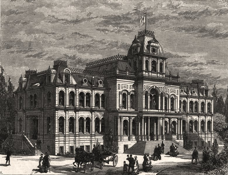 Associate Product New court house, Hamilton, Ontario, Canada West, antique print, 1879