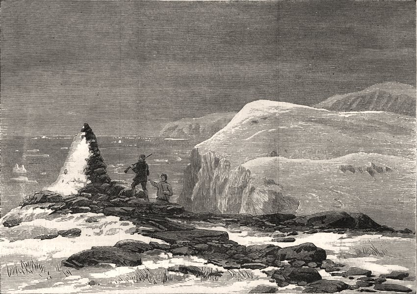 Associate Product Pandora. Capt Allen Young. Cairn. Capt Nares. Cape Isabella. Canada, print, 1876