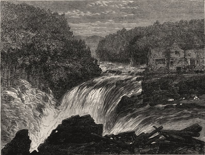 Associate Product The falls of the Riviere du Loup, in Lower, or Eastern, Canada, old print, 1862