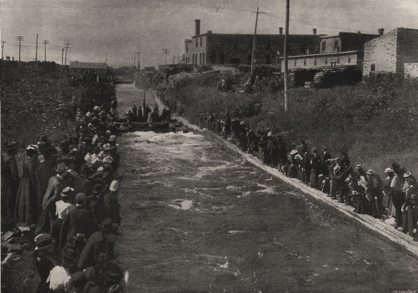 Associate Product Duke Of Cornwall's party shooting the timber slide at Ottawa. Canada, 1901