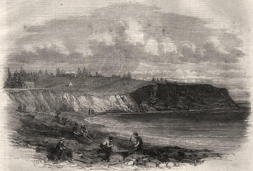 Associate Product Goldwashing near Lunenburg. Nova Scotia, antique print, 1861