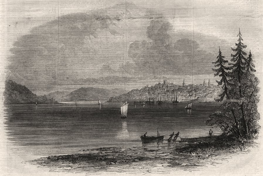 Associate Product View of Lunenburg from Battery Point. Nova Scotia, antique print, 1861