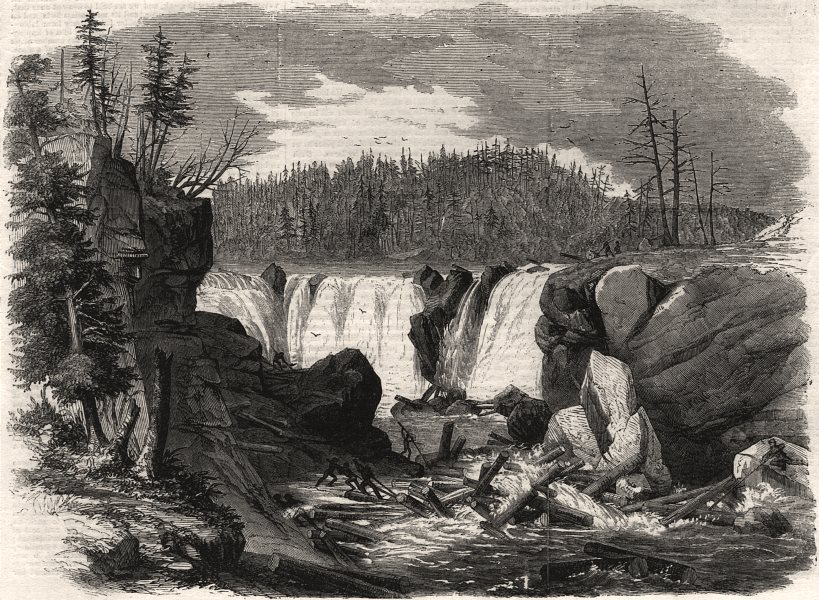 Associate Product Driving logs down the falls of the St. John. Canada, antique print, 1858