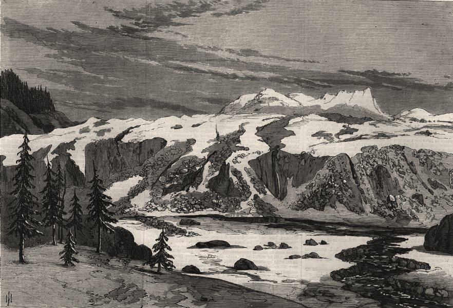 Associate Product Sketches in British Columbia. Foot of Tiedemann's Glacier. Canada, print, 1868
