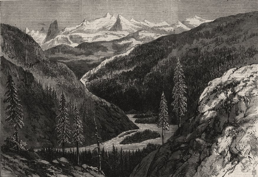 British Columbia. Valley below the defile, head of Bute Inlet. Canada, 1868