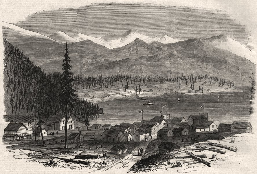 Associate Product British Columbia. The town of Douglas, and Douglas Lake. Canada, old print, 1864