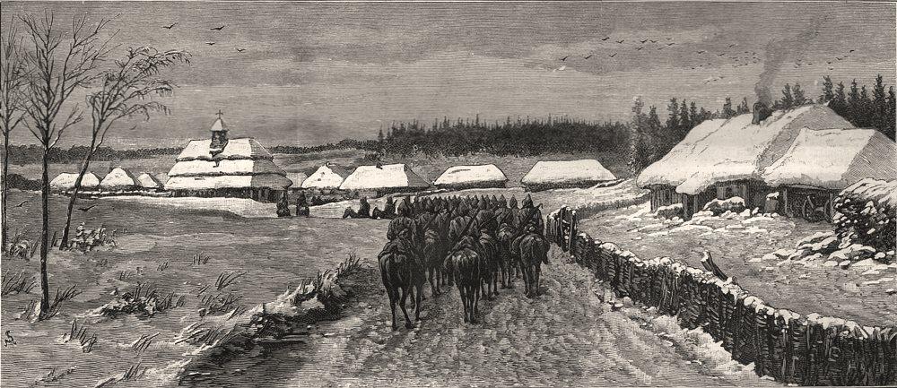 Associate Product Russian Dragoons on the march between Ivanowitz & Skala. Austrian frontier, 1888
