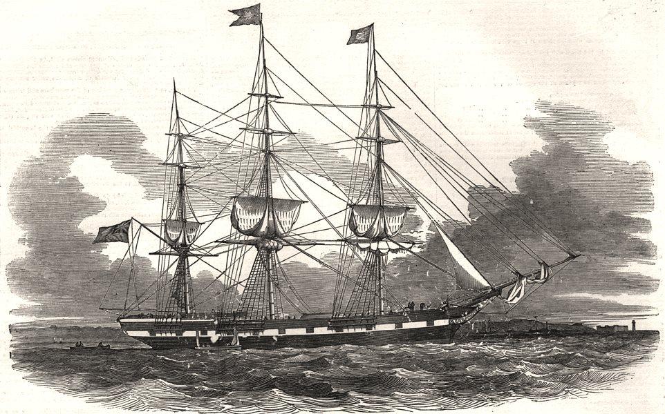 "Associate Product The Ship ""Hibernia"" built at Quebec. Canada, antique print, 1851"
