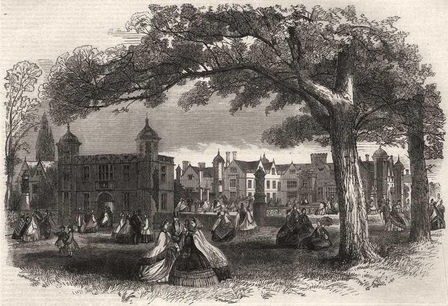 Associate Product Visit to Charlecote. Warwickshire, antique print, 1864