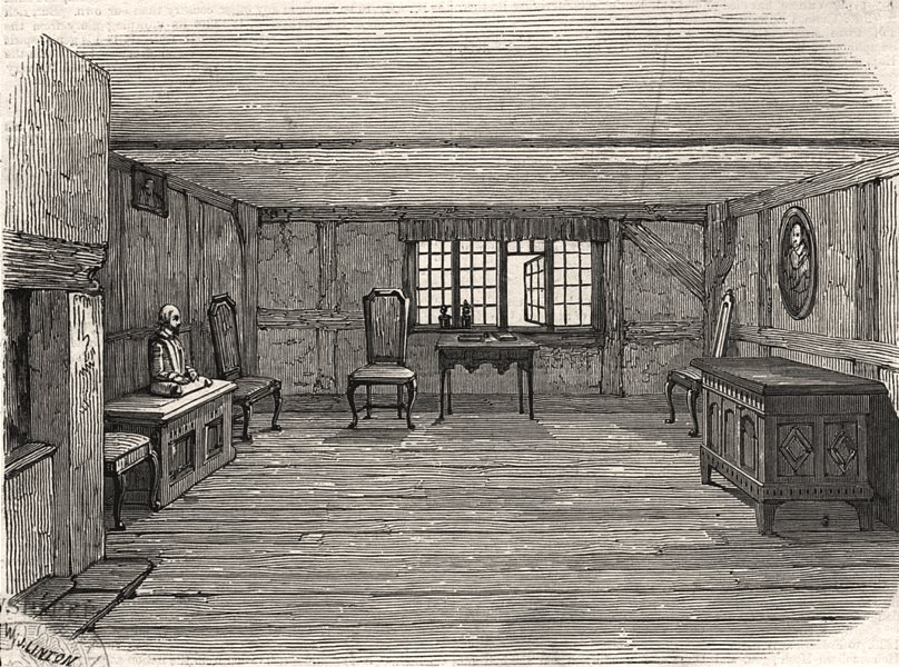 Associate Product Stratford-upon-Avon. Chamber in Shakespeare's House. Warwickshire, print, 1847