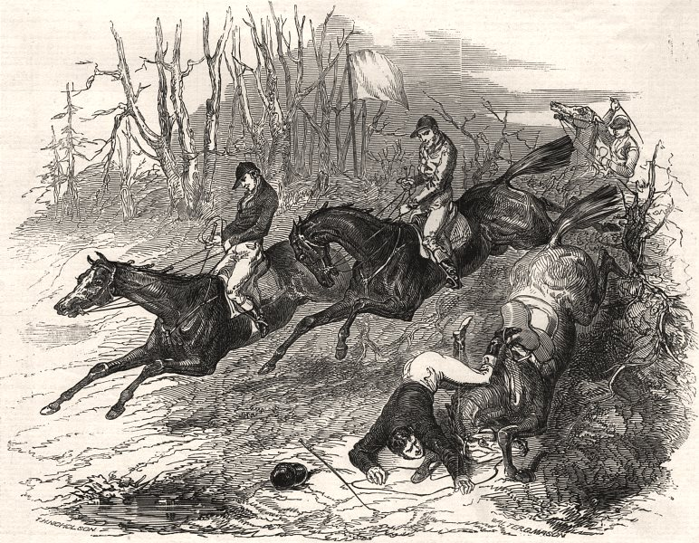 Associate Product Sketch from the Leamington steeplechase. Warwickshire, antique print, 1848