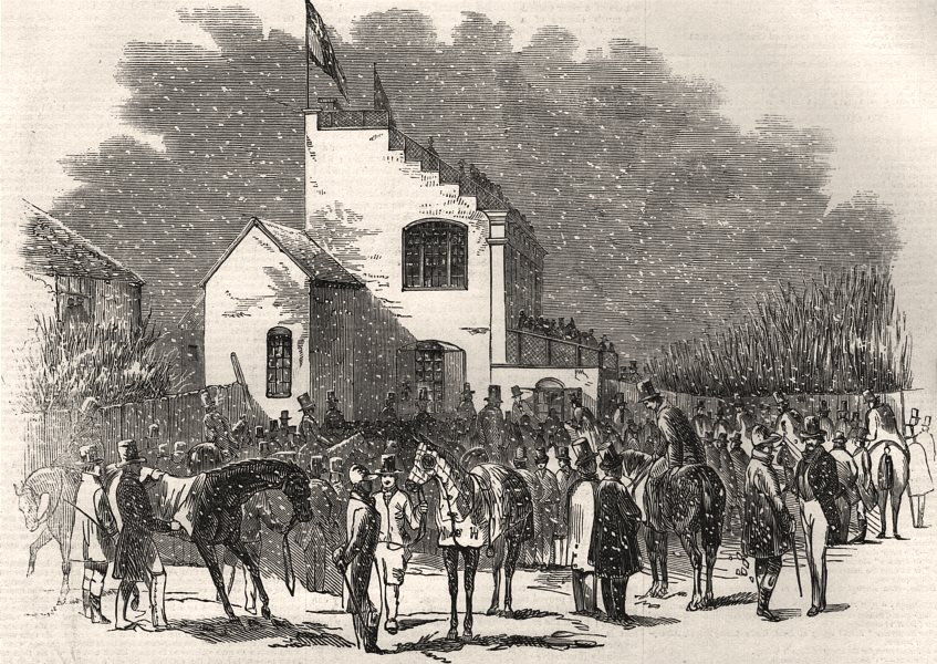 Associate Product Grand military Leamington steeple chases. Saddling at the betting ground, 1846