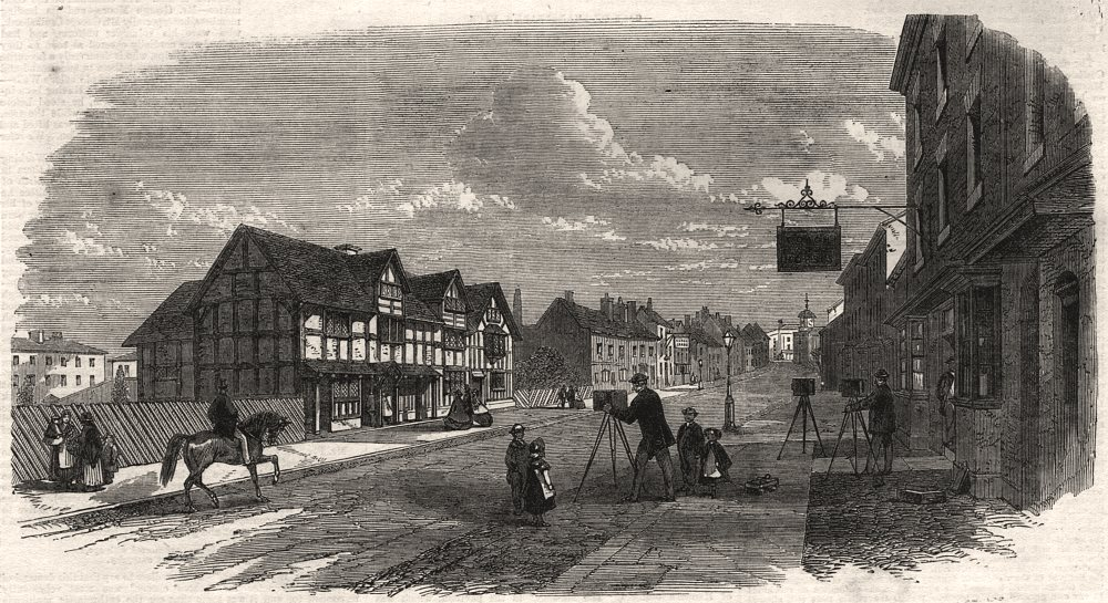 Associate Product Henley Street, Stratford-on-Avon, with Shakespeare's House. Warwickshire, 1864