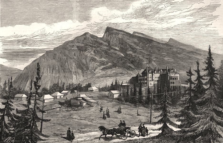 Associate Product The Canadian Pacific Railway Hotel at Banff. Canada, antique print, 1888
