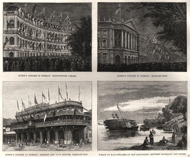 Associate Product Bombay Mumbai Elphinstone Circle Rampart Row Sassoon Steamer wreck, print, 1887