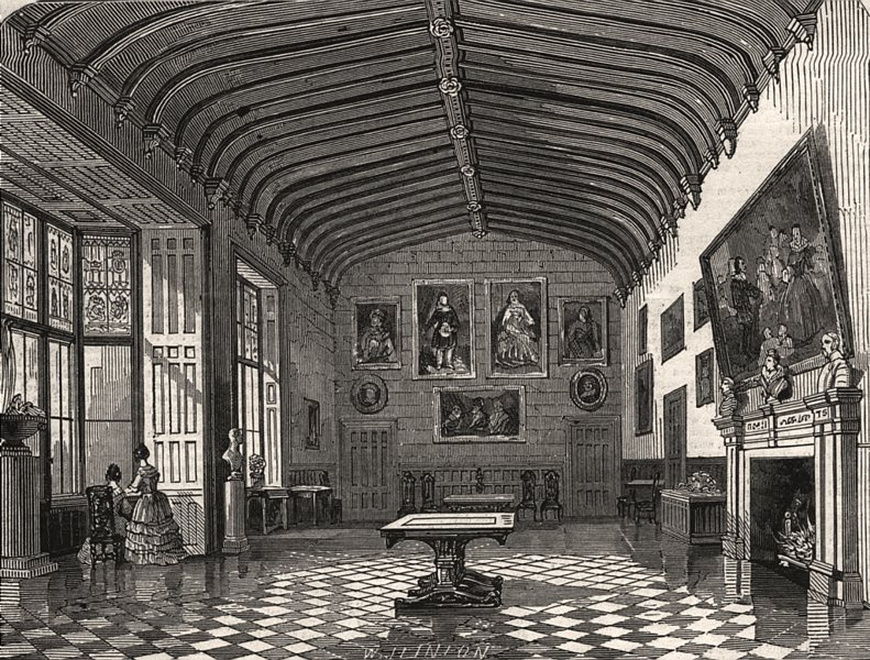 Associate Product The great hall, Charlecote. Warwickshire, antique print, 1847