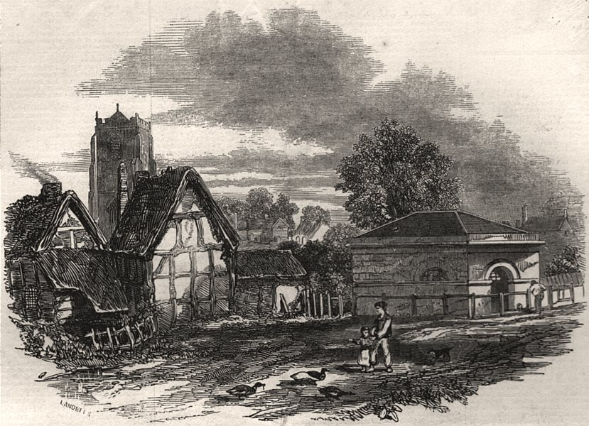 Associate Product Leamington Spa. The old church & first pump room. Warwickshire, old print, 1846