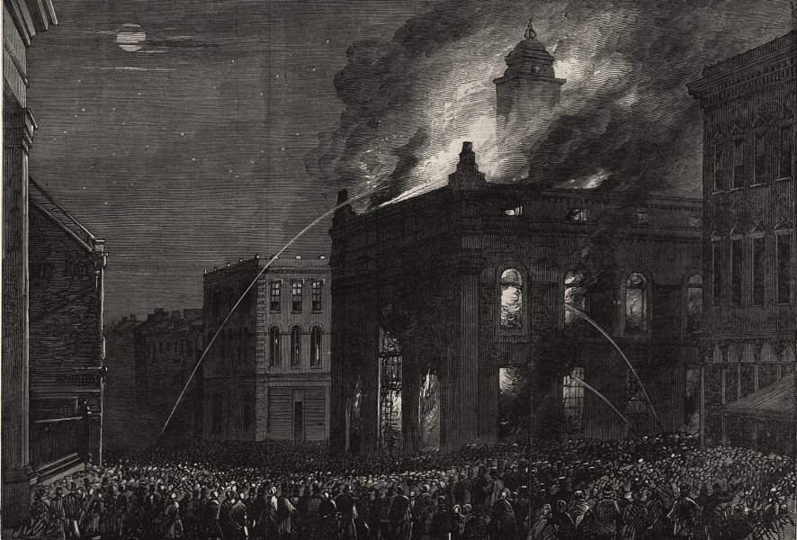 Associate Product Burning of the market house at Kingston, Canada West, antique print, 1865