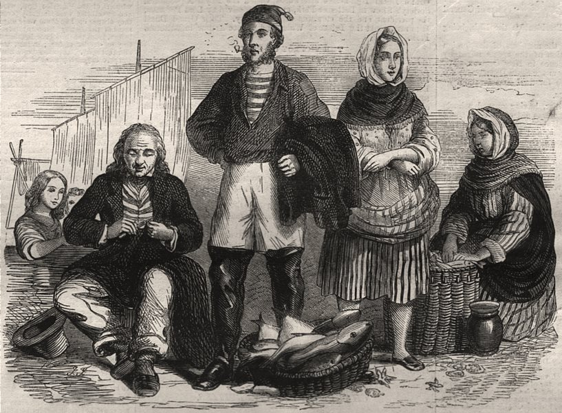 Associate Product Newhaven fishermen and fishwives. Scotland, antique print, 1862