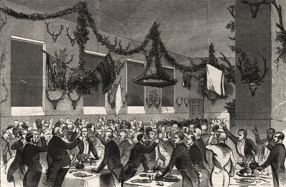 Associate Product Badminton House. Tenants dinner. Drinking Marquis of Worcester's health, 1845