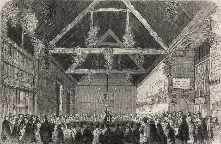 Associate Product Bishop of London preaching Favourite omnibus yard, Upper Street, Islington, 1859