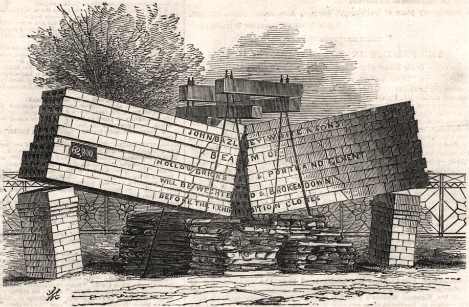 Associate Product Beam of hollow bricks - by J. B. White and Sons. Buildings, antique print, 1851