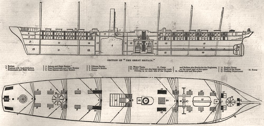 Associate Product Section of the SS Great Britain; upper deck of SS Great Britain, old print, 1845