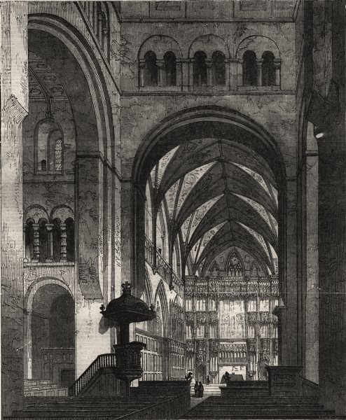 Associate Product St. Albans Abbey: the choir and high altar. Hertfordshire, antique print, 1856