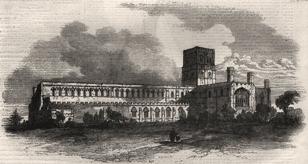 Associate Product St. Albans Abbey, from the south west. Hertfordshire, antique print, 1856
