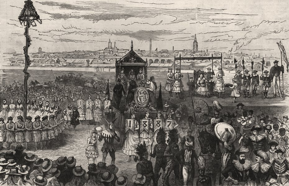 Associate Product Queen Victoria's Jubilee Festival at Wakefield. Yorkshire, antique print, 1887