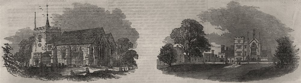 Associate Product Abbott's Langley church; Cassiobury. Hertfordshire, antique print, 1851