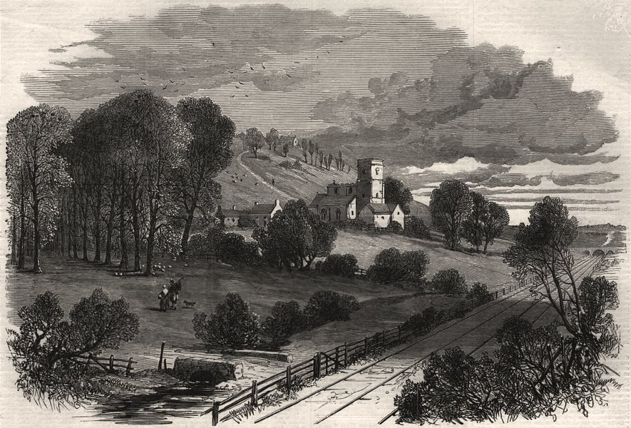 Associate Product Normanton, on the Lincoln and Honington railway. Lincolnshire, old print, 1867