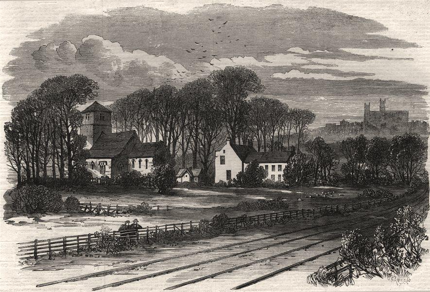 Associate Product Bracebridge, on the Lincoln and Honington railway. Lincolnshire, old print, 1867