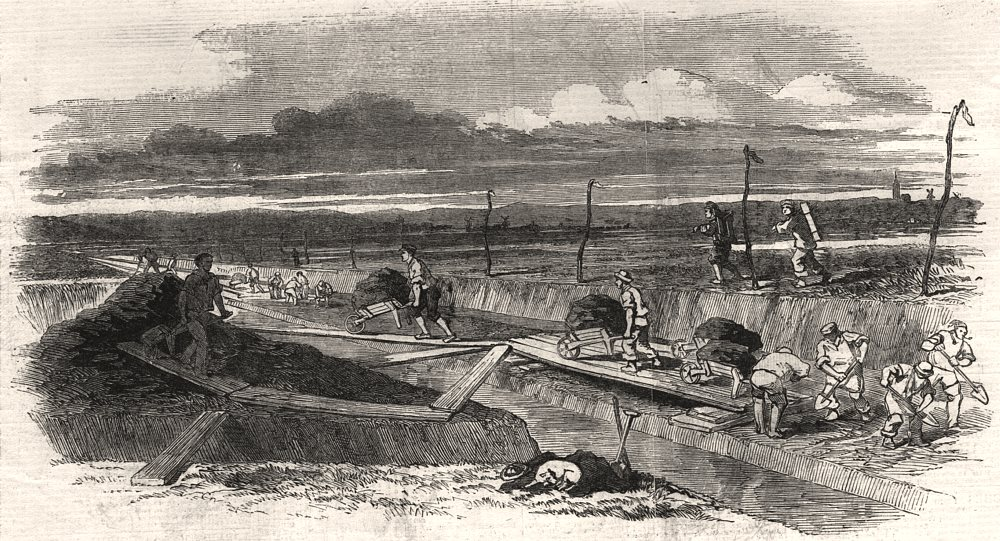 Associate Product Drainage of Whittlesey Mere - the dyke-cutting. Cambridgeshire, old print, 1851