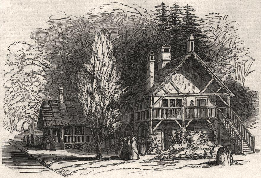 Associate Product Swiss Cottage, Cassiobury Park. Hertfordshire, antique print, 1846