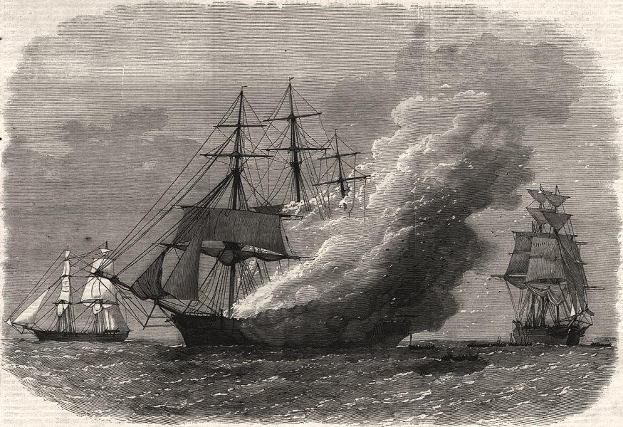 Associate Product Burning of the Omar Pacha, Australian ship, homeward bound, antique print, 1869