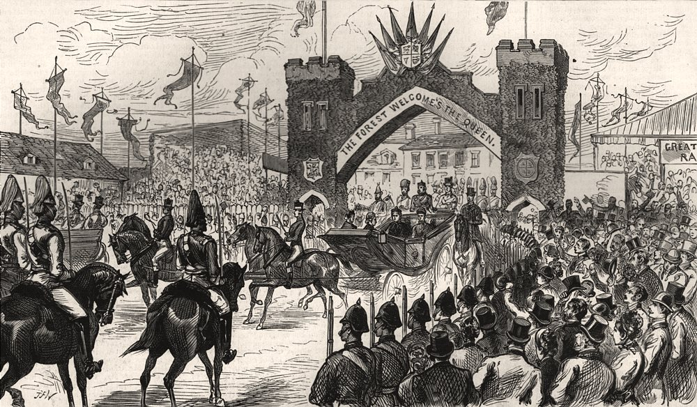 Associate Product Queen Victoria's visit to Epping Forest. Leaving Chingford. London, print, 1882