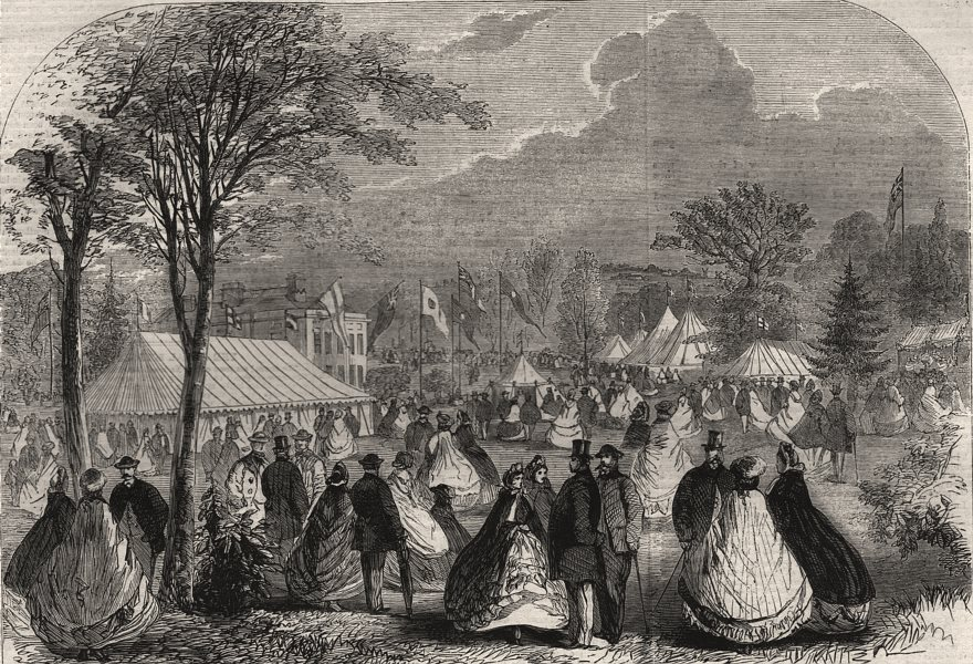 Associate Product Essex Agricultural Society's show in the grounds at Sloe House, Halstead, 1862