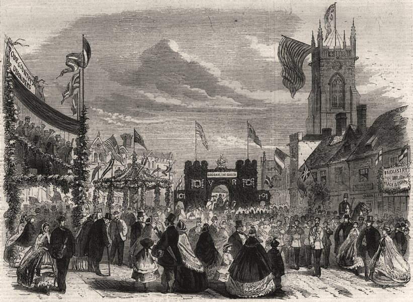 Associate Product The Essex Agricultural Society's show at Halstead: Triumphal arch, print, 1862